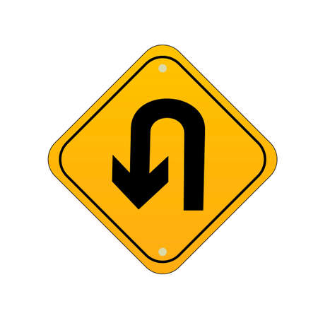 u turn: Take u turn road sign Illustration
