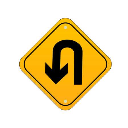 u turn: Take u turn road sign Illustration
