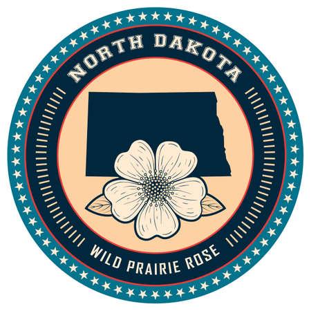 dakota: North Dakota state label Illustration