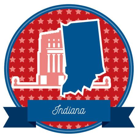 plaza: Indiana state Illustration