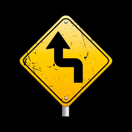 reverse: Sharp reverse turns ahead sign