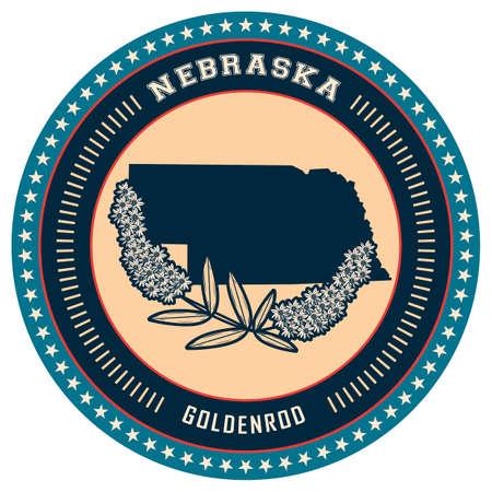 nebraska: Nebraska state label Illustration
