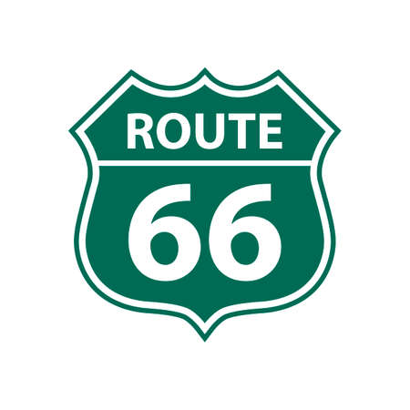 route: Route 66 road sign Illustration