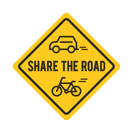 sinal de estrada: Share the road sign with bicycle and car