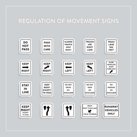 use regulation: Regulation of movement signs collection Illustration