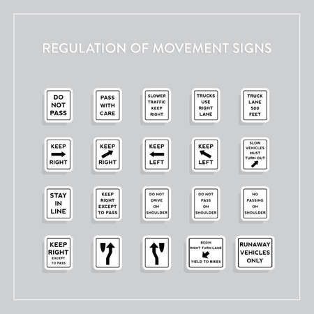 Regulation of movement signs collection Illustration