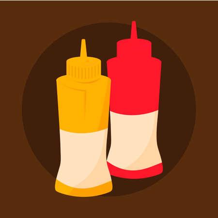condiment: Ketchupandmustardbottles Illustration