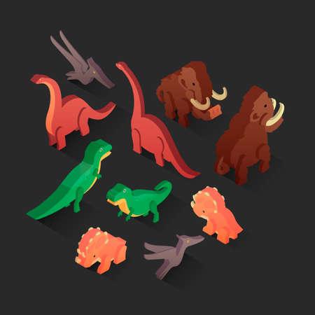 pteranodon: Isometric animals Illustration