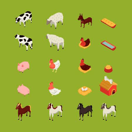 Isometric farm animals