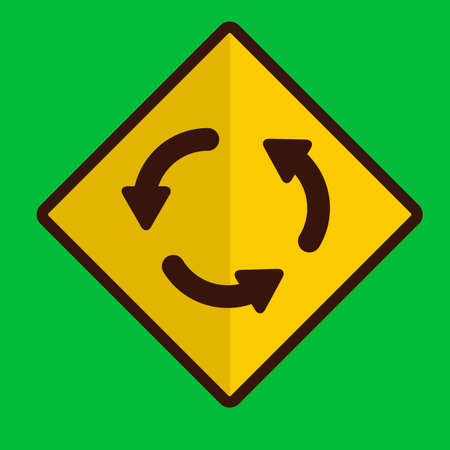 roundabout: Roundabout road sign Illustration