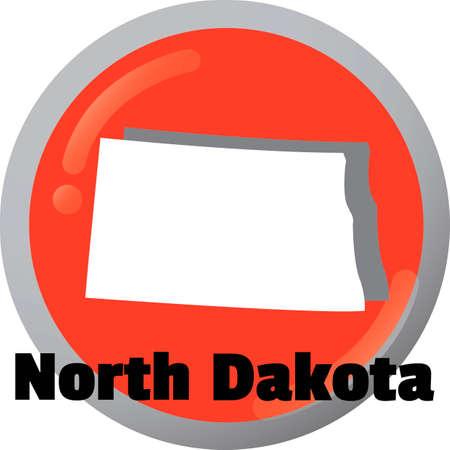 north dakota: North dakota state map Illustration
