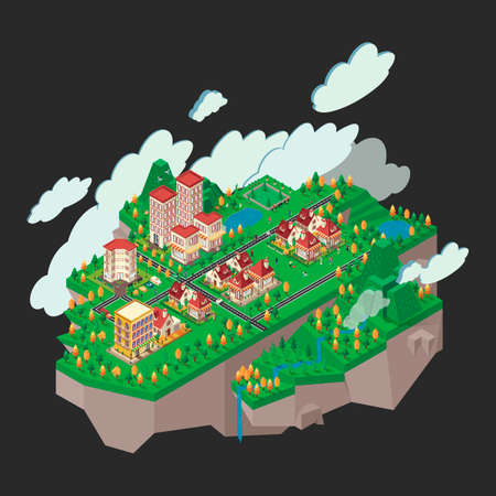 floating: Isometric floating city