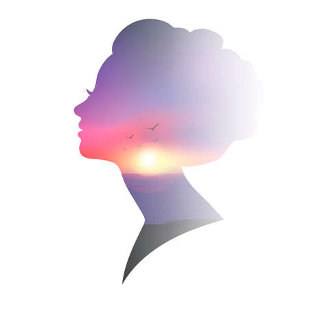 exposure: Double exposure of woman and sunset