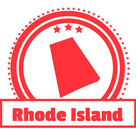 island state: Rhode island state map label Illustration
