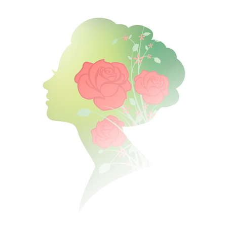 double exposure: Double exposure of woman and flowers