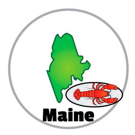 maine: Maine state map Illustration