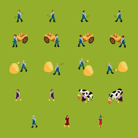 peasant woman: Isometric farming icons