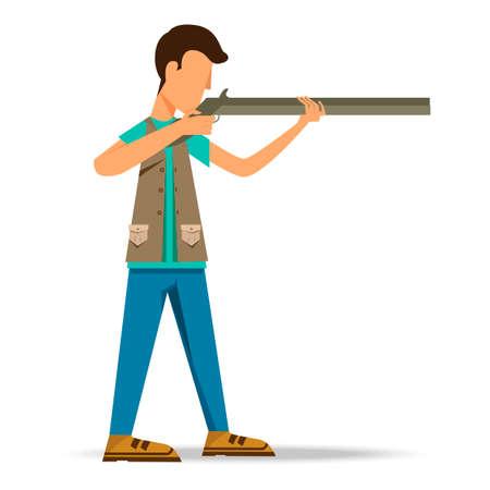 hombre disparando: Man shooting Vectores