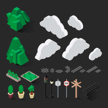 signal pole: Isometric road signs and nature Illustration