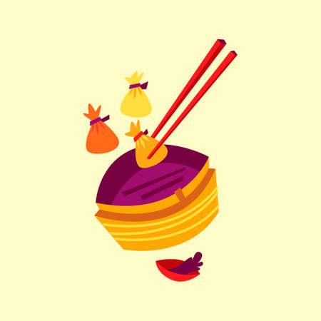 chinese fast food: Dumplings with basket steamer