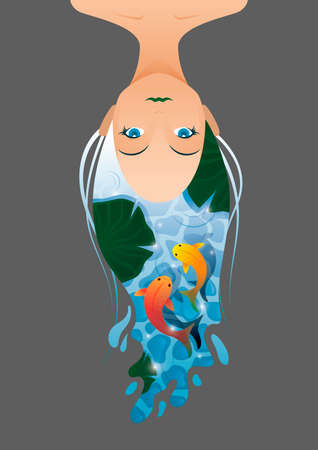 double exposure: Double exposure of woman and fishes Illustration