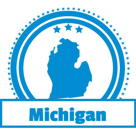 michigan: Michigan state map label