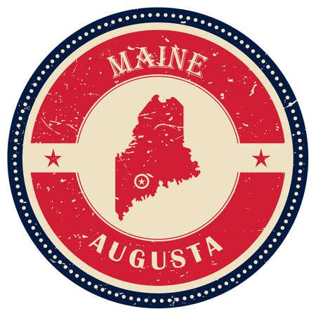 maine: Stamp of Maine state