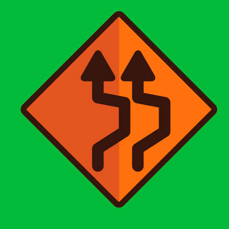 reverse: Double reverse curve sign Illustration