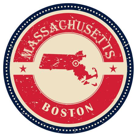 massachusetts: Stamp of Massachusetts state Illustration