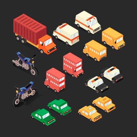 automobiles: Set of isometric automobiles