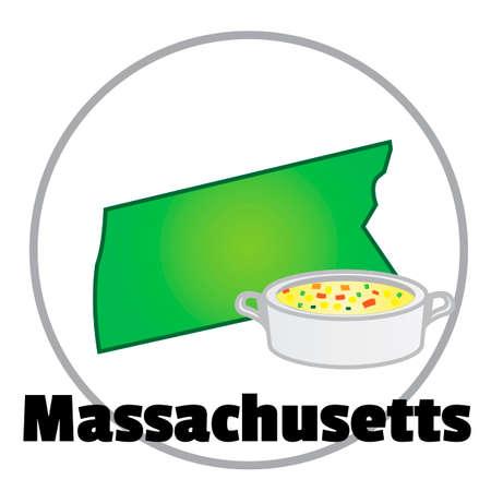 chowder: Massachusetts state map Illustration
