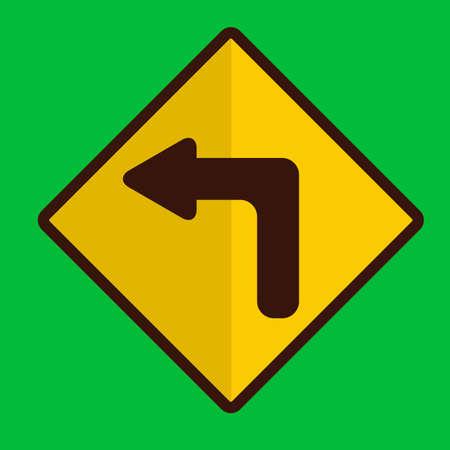 znak drogowy: Left turn road sign Ilustracja