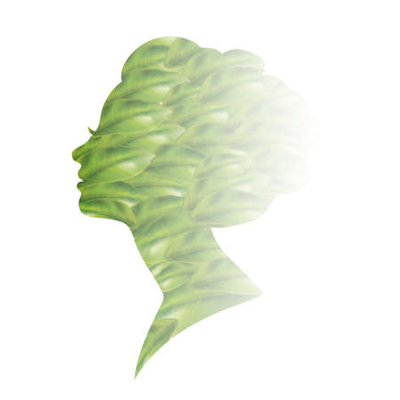 woman side view: Double exposure of woman and leaves Illustration