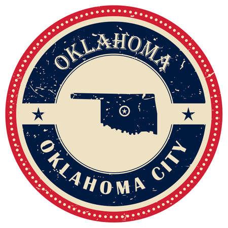 oklahoma: Stamp of Oklahoma state Illustration