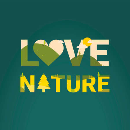 double exposure: Love nature with double exposure effect Illustration