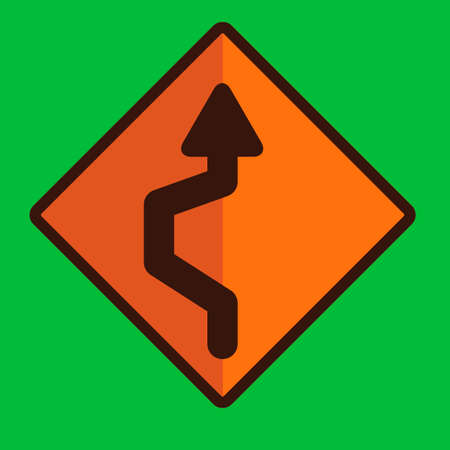 reverse: Single reverse curve sign Illustration