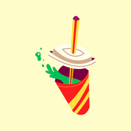 Paper cup with soft drink