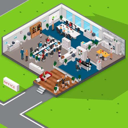 Isometrische kantoor met mensen Stock Illustratie