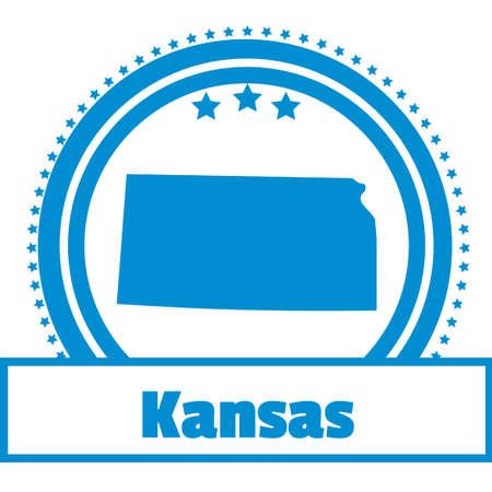 KANSAS: Kansas state map label Illustration