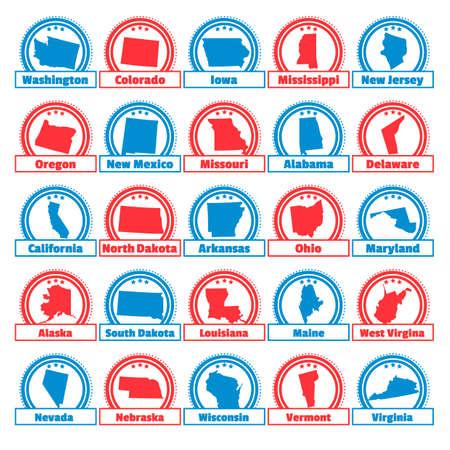 Colección de etiquetas de mapa USA Foto de archivo - 45399418