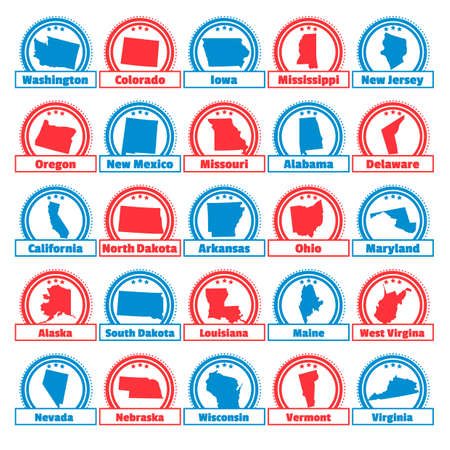 Collection of usa map labels Stock Vector - 45399418