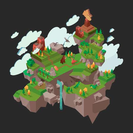 floating: Isometric floating prehistoric island