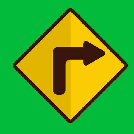 turn on: Right turn road sign