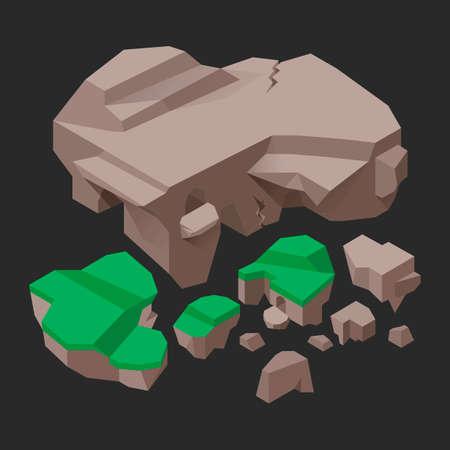 Isometric rocks Illusztráció