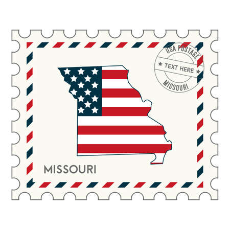 perforated stamp: Missouri postage stamp Illustration