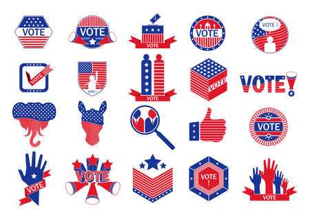 republican party: Collection of us election icons