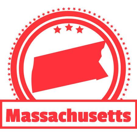 massachusetts: Massachusetts state map label Illustration