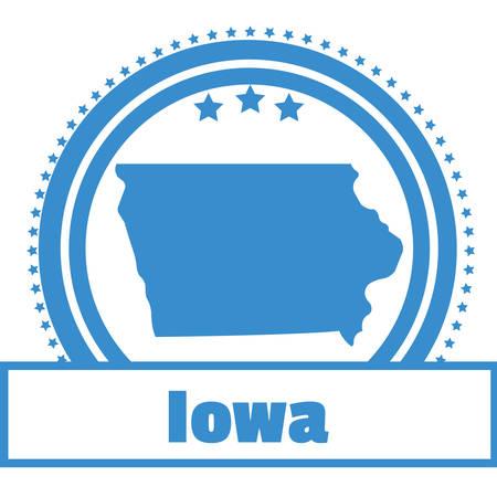 iowa: Iowa state map label Illustration