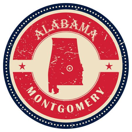 alabama state: Stamp of Alabama state Illustration