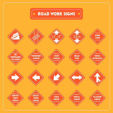 be alert: Road work signs collection Illustration